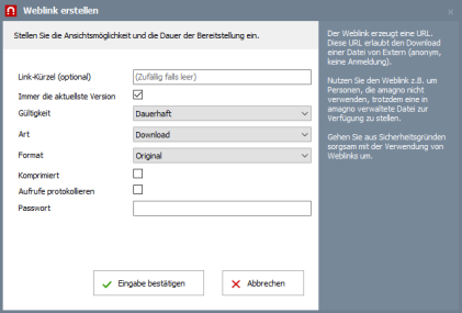 amango wissen weblinkdialog1 - AMAGNO Wissen: Sichere Dokumentenlinks versenden