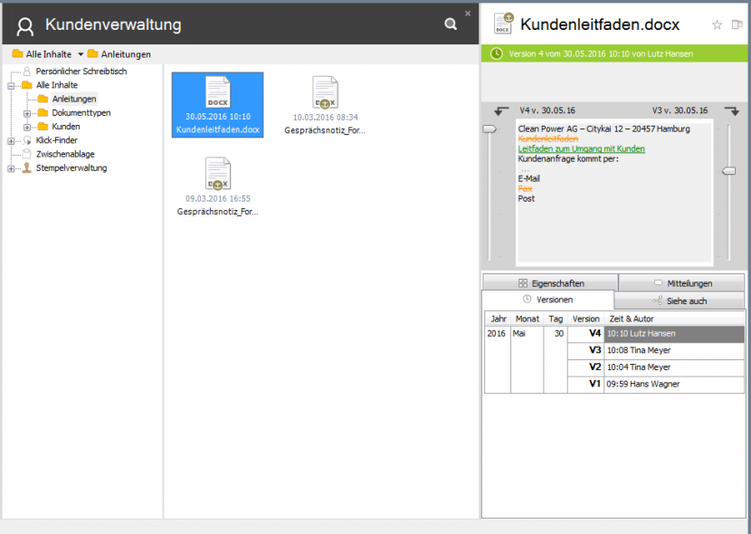 dokumente versionen vergleichen 830x590 - Revisionssicherheit mit DMS