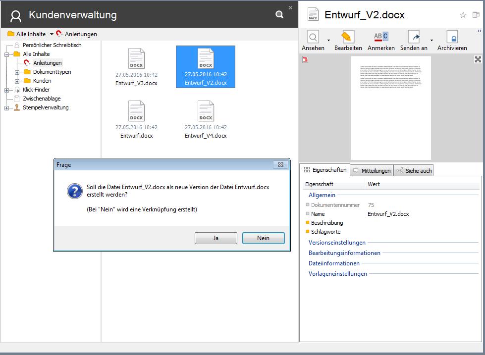 Dokumente zusammenführen für automatische Versionierung