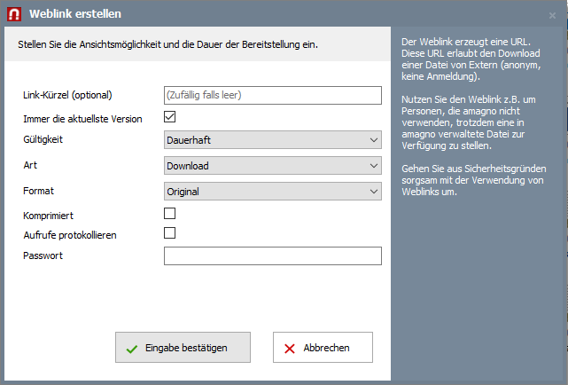 Weblink nutzen, um Dokumente und Dateien zu teilen