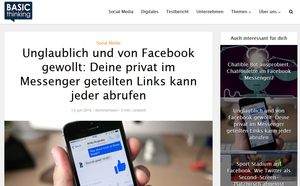 Vorsicht beim Teilen von Links via Facebook Messenger