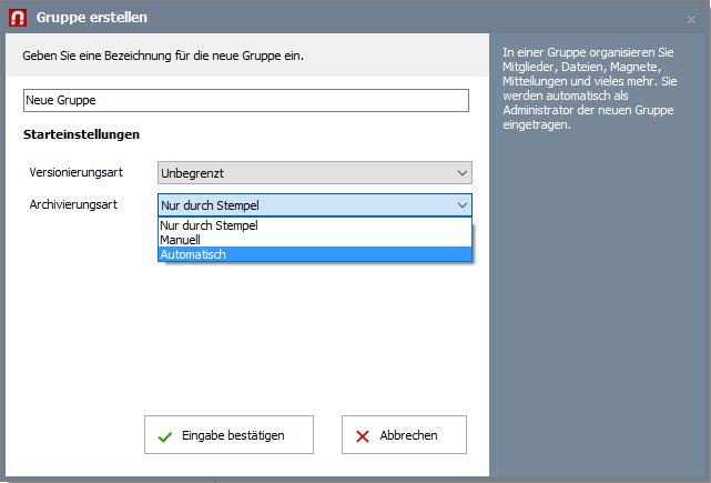 Dokumentenarchivierung aktivieren und einstellen