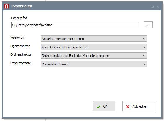 Export von Dokumenten und Dateien aus AMAGNO