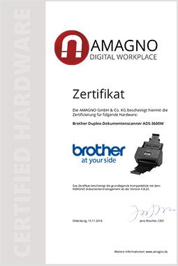 dokumentenmanagement zertifikat scanner - Brother Dokumentenscanner für AMAGNO zertifiziert