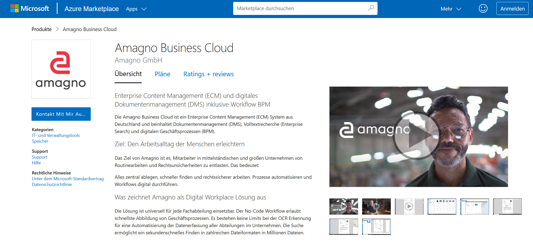 Amagno Business Cloud jetzt im Microsoft Marketplace erhältlich